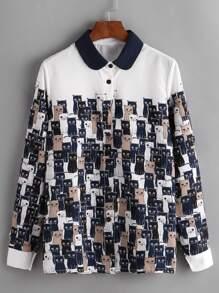 Cats Print Contrast Collar Shirt