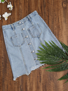 Single Breasted Dual Pockets Raw Hem Denim Skirt