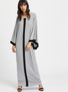 Kimono Sleeve Contrast Panel Heathered Cocoon Dress