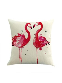 Contrast Couple Flamingo Print Pillowcase Cover