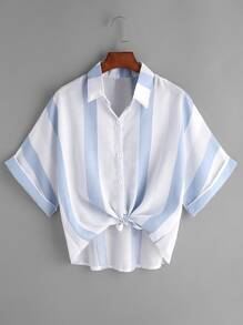 Contrast Striped Tie Front Cuffed Shirt