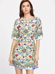 Elbow Sleeve Flower Print A Line Dress