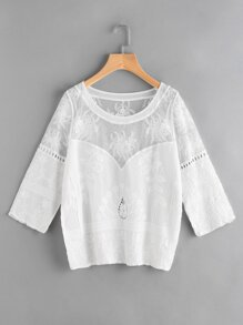 Mesh Panel Hollow Out Embroidered Top