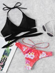 Cross Wrap Strappy Mix And Match Bikini Set