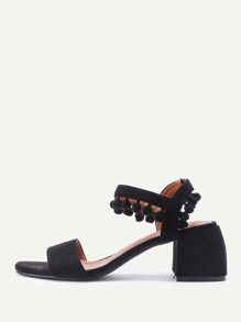 Pom Pom Detail Block Heeled Sandals