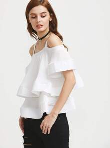 Flounce Layered Neckline Tie Back Top