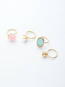Colorful Various Shapes Elegant Rings Set 4PCS