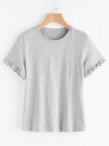 Frill Cuff Heather Knit Tee