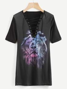 Ombre Lion Print Eyelet Lace Up Front Dress