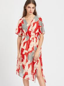 Surplice Front Split Side Dress