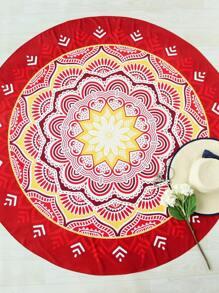 Lotus Flower Print Round Beach Blanket