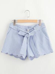 Scallop Edge Self Belt Striped Shorts
