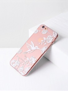 Bird And Flower Print Clear iPhone 6/6s Case