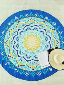 Lotus Flower Print Round Beach Blanket
