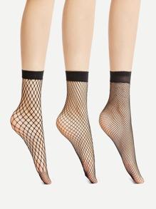 Fishnet Ankle Socks 3 Pair
