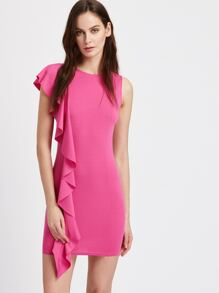 Princess Seam Asymmetric Frill Trim Bodycon Dress