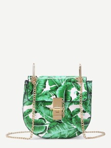 Leaf Print Flap Saddle PU Bag With Chain