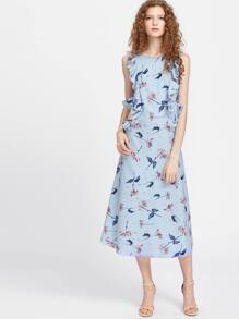 Cutout Waist Floral Ruffle Trim Dress