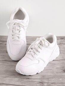 Faux Feather Lace Up Sneakers