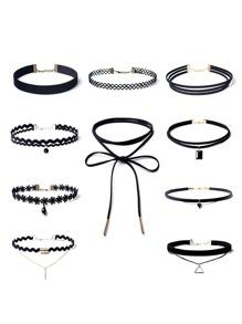 Rhinestone Pendant Choker Necklace Set