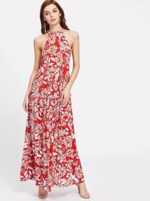 Drawstring Halter Neck Frilled Tired Floral Dress