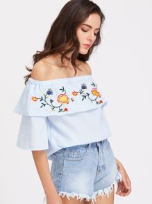 Flounce Layered Neckline Embroidered Top
