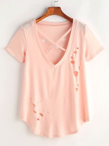 V-neckline Criss Cross Ripped Curved Hem Tee