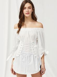 Tie Sleeve Lace Up Corset Detail Dolphin Hem Top