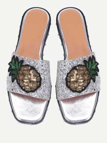Pineapple Patch Glitter Slider Sandals