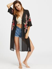 Embroidered Appliques Slit Side Chiffon Kimono