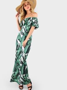 Flounce Off Shoulder High Slit Dress