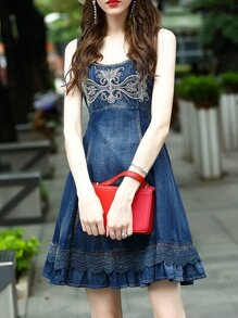 Blue Strap Embroidered Denim Dress