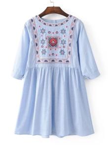 3/4 sleeve Pinstripe Shift Dress