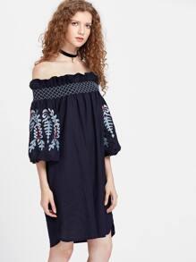 Bardot Frill Trim Tunic Dress