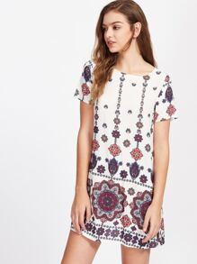 Mandala Print Short Sleeve Dress