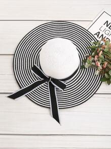 Striped Bow Tie Floppy Hat