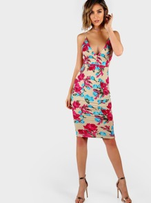 Plunging Backless Flower Print Cami Dress