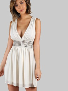 Chiffon Lace Trim Dress IVORY