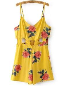 Yellow Flower Print Cut Out Romper With Zipper
