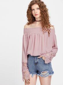 Bardot Crochet Lace Cuff Top