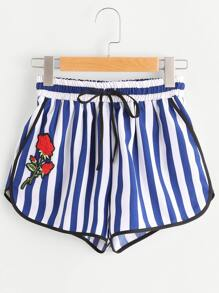 Rose Applique Contrast Binding Striped Dolphin Shorts