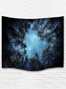 Galaxy And Forest Print Tapestry