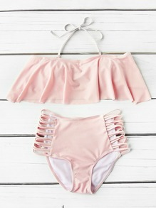 Flounce Detail Ladder Cutout High Waist Bikini Set