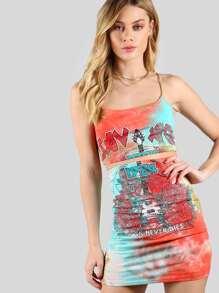 Graphic Tie Dye Crop & Skirt Set CORAL