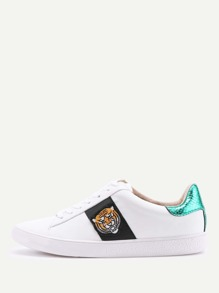 Tiger Embroidery Lace Up Sneakers
