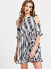 Open Shoulder Cutout Tie Back Frill Detail Gingham Dress
