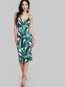 Plunging Backless Foliage Print Cami Dress