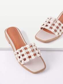 Faux Pearl Detail Cut Out Sandals