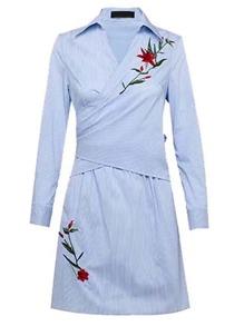 Surplice Front Pinstrip Tie Back Warp Dress
