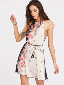 Floral Print Low Side Racer Cami Dress With Belt